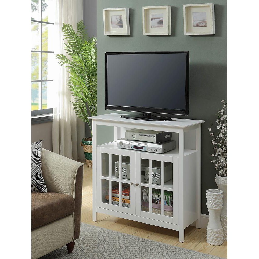 2017 Convenience Concepts Big Sur White Highboy Tv Stand 8066070W – The Within Big Tv Stands Furniture (Gallery 20 of 20)