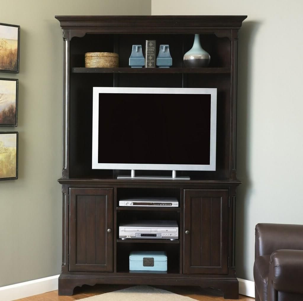 2017 Corner Tv Cabinets With Hutch Throughout Furniture: Vintage Dark Brown Wooden Tall Corner Tv Stands For Flat (View 4 of 20)