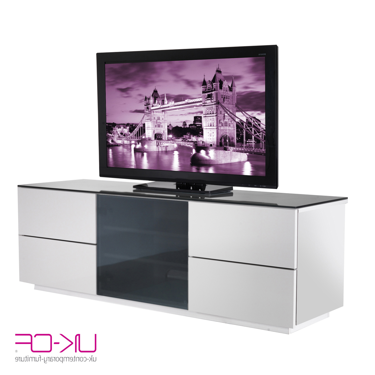 2017 Cream High Gloss Tv Cabinets For Ukcf London Designer High Gloss White Tv Stand With Black Glass Door (View 1 of 20)