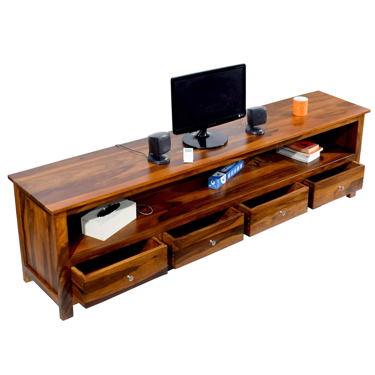 2017 Daintree Tv Stands With Daintree Sheesham Wood 1.96 Meter Dolly 4 Draw Tv Unit Cabinet (Gallery 12 of 20)