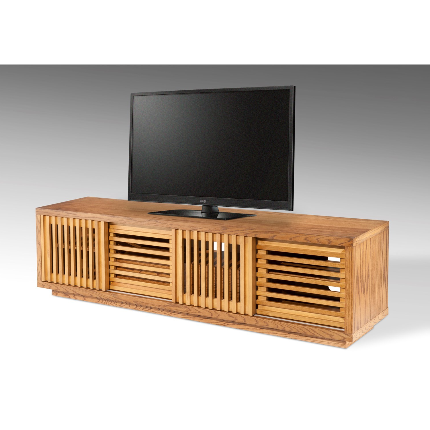 "2017 Honey Oak Tv Stands In The Simple Stores 81.5"" Designer American White Oak Tv Stand In Warm (Gallery 3 of 20)"