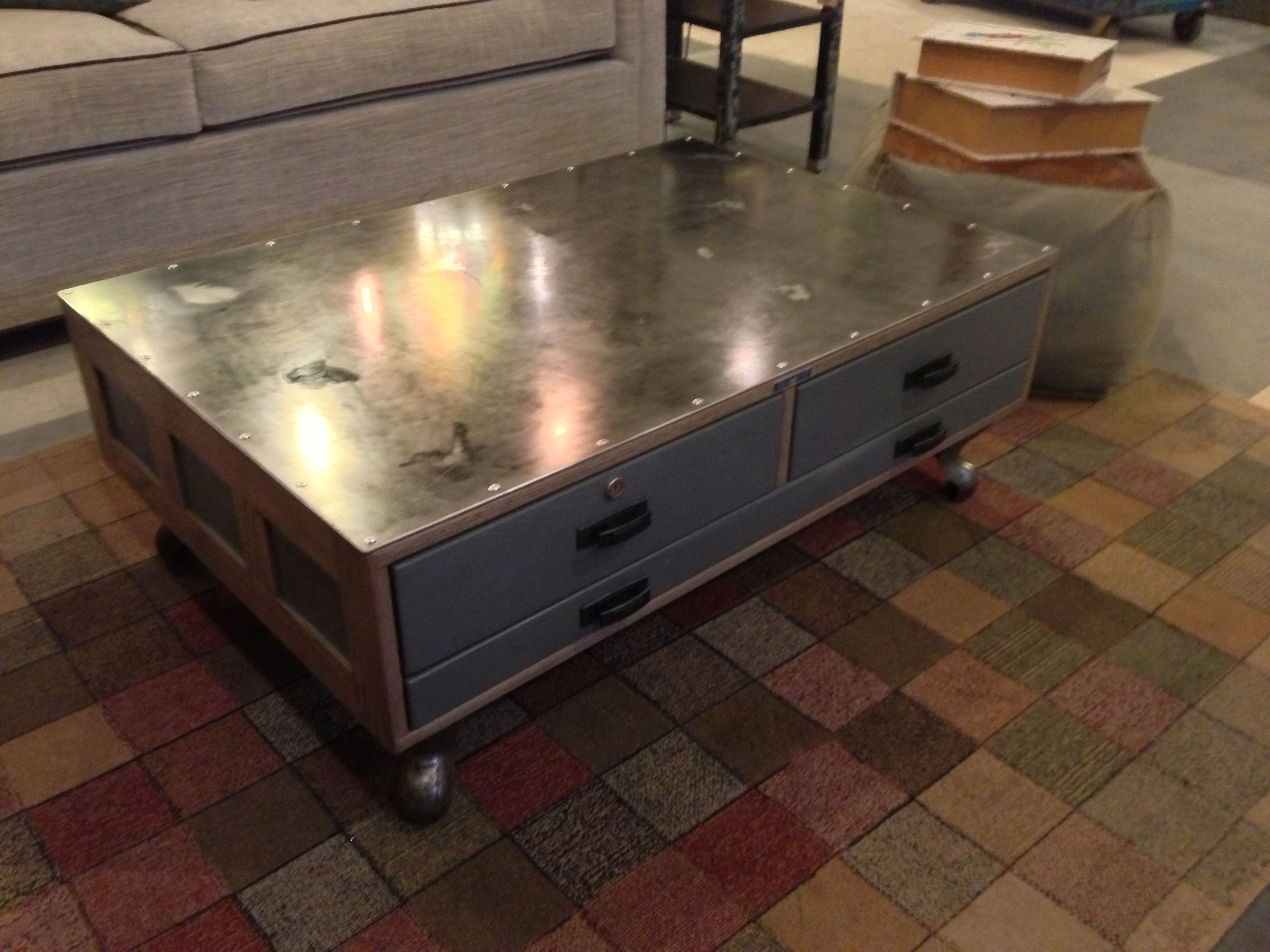 2017 Industrial Coffee Table Made From Vintage Flat File Cabinet Intended For Mayfield Plasma Console Tables (View 7 of 20)