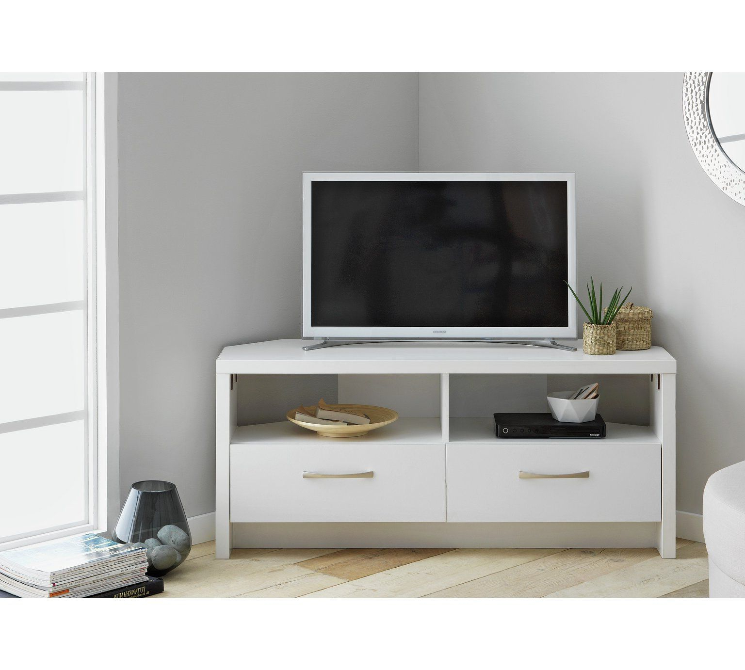 2017 Large Tv Cabinets Throughout Buy Collection Venice 2 Drawer Large Corner Tv Unit – White At Argos (Gallery 20 of 20)