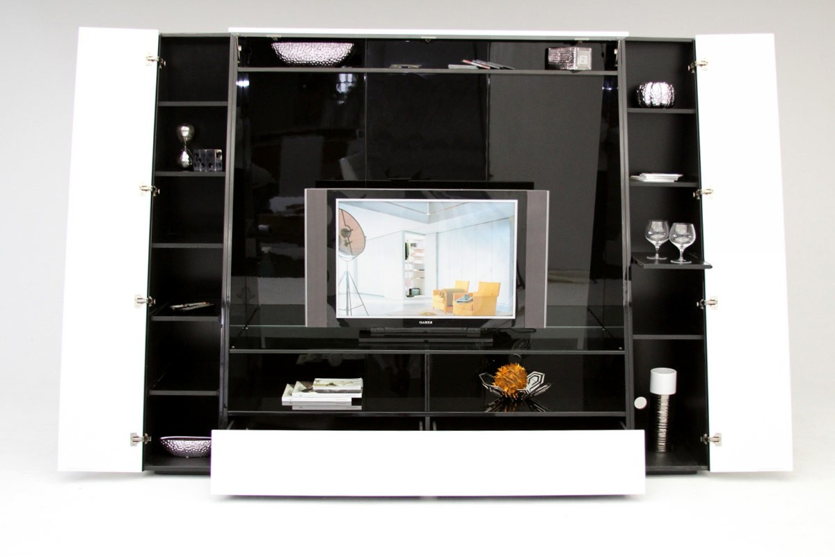 2017 Modern Tv Entertainment Centers Pertaining To Modern Long Black Entertainment Center With Glossy Door And Funky (View 1 of 20)