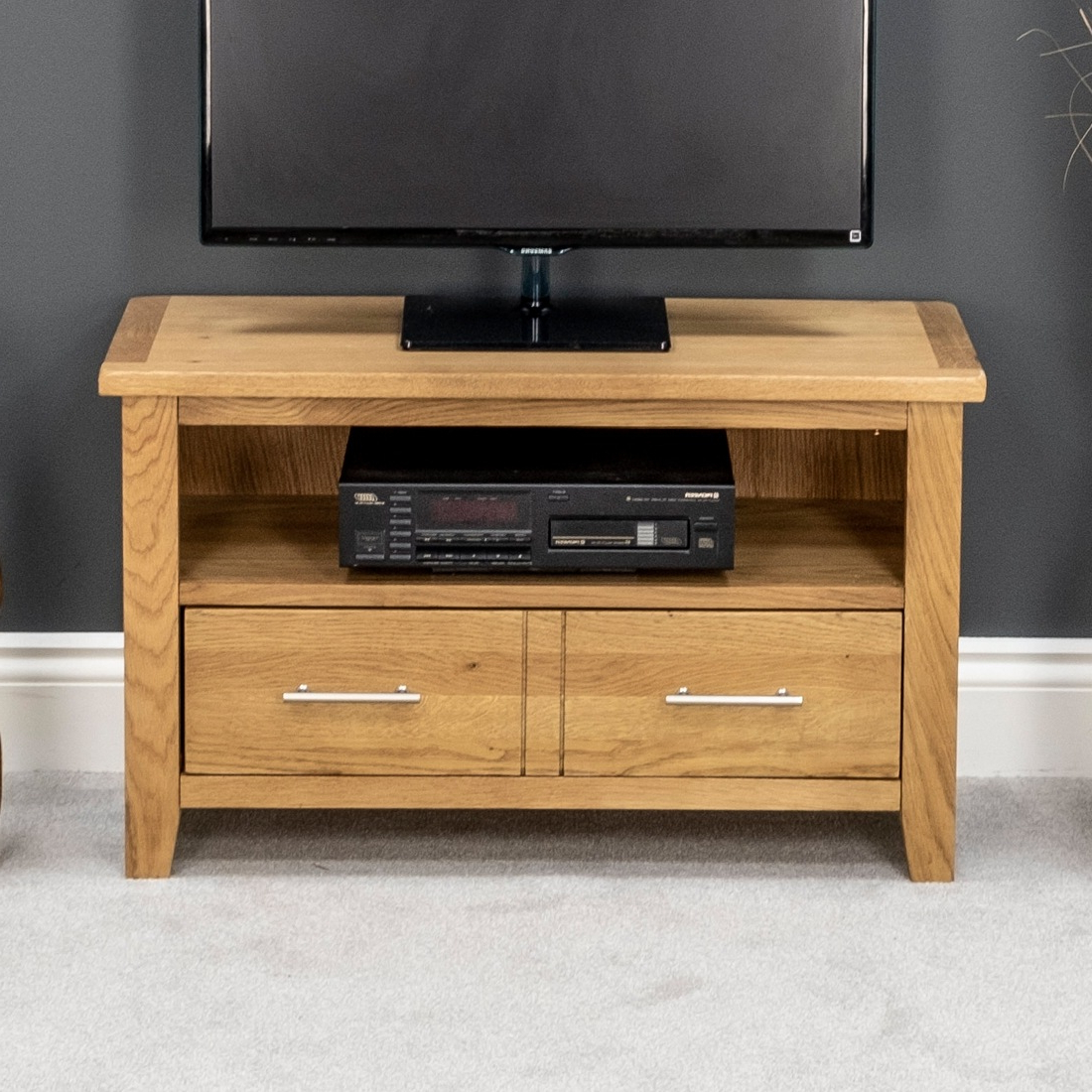 2017 Modern Wooden Tv Stands For Nebraska Modern Oak Small Tv Unit / Solid Wood Tv Stand / Oiled Tv (View 2 of 20)