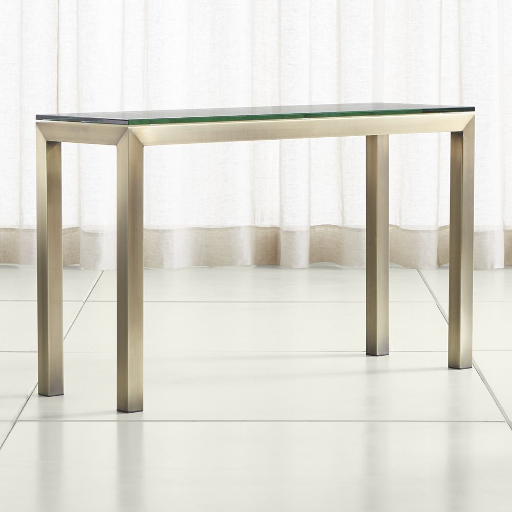 2017 Parsons Clear Glass Top & Stainless Steel Base 48X16 Console Tables With Parsons Clear Glass Top/ Brass Base 48X16 Console (Gallery 1 of 20)