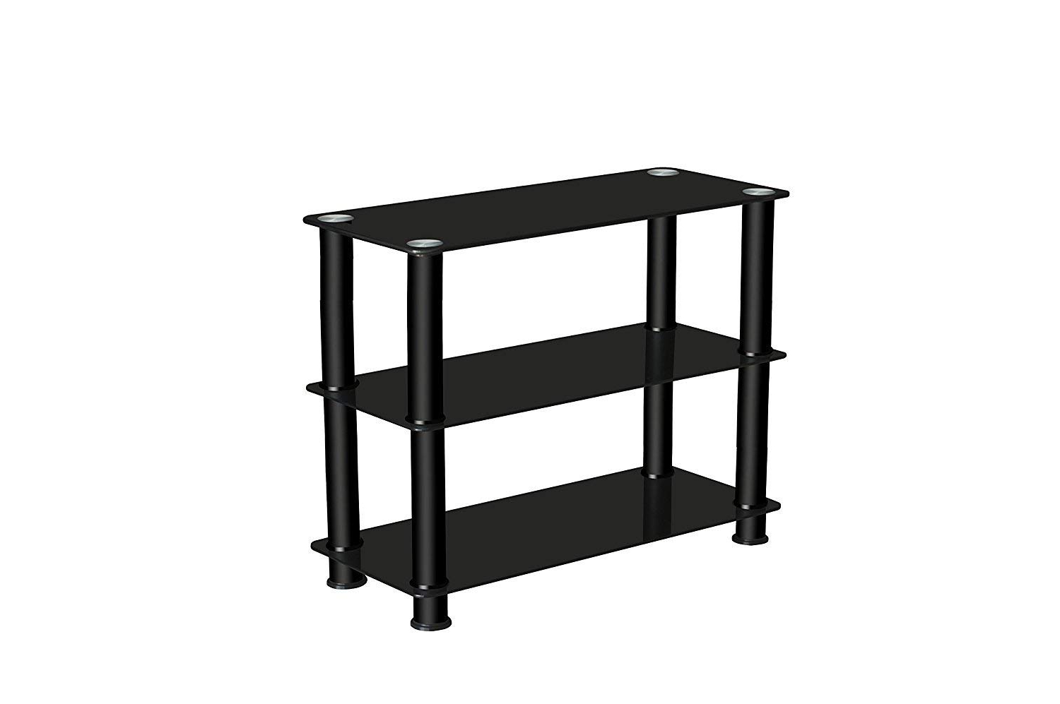 2017 Premier Av Tv Stand, Glass// Steel, All Black /( High Height 60Cm With Regard To 60 Cm High Tv Stand (View 2 of 20)