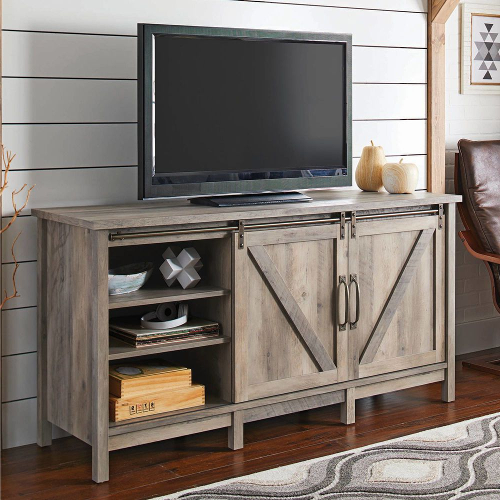 2017 Rustic Entertainment Center Farmhouse Country Style Barn Door Tv With Regard To Country Style Tv Stands (View 2 of 20)