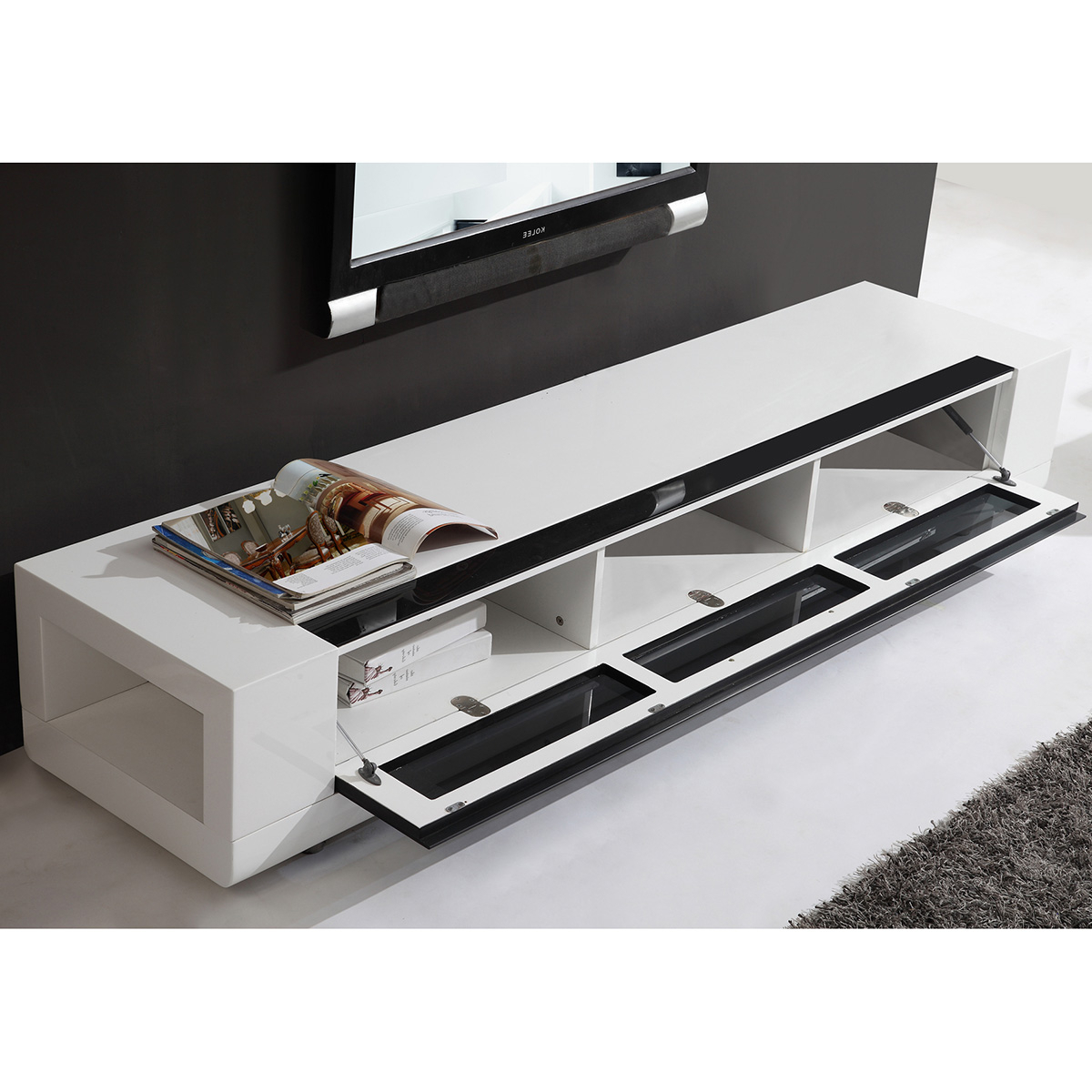 """2017 White Modern Tv Stands Pertaining To B Modern Bm 632 Wht Editor Remix 79"""" Contemporary Tv Stand In High (View 1 of 20)"""