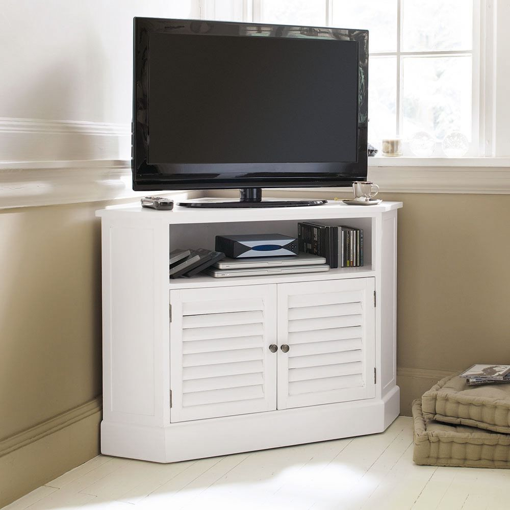 2017 White Wood Corner Tv Stands Pertaining To Small Space, Useful Corners (View 2 of 20)