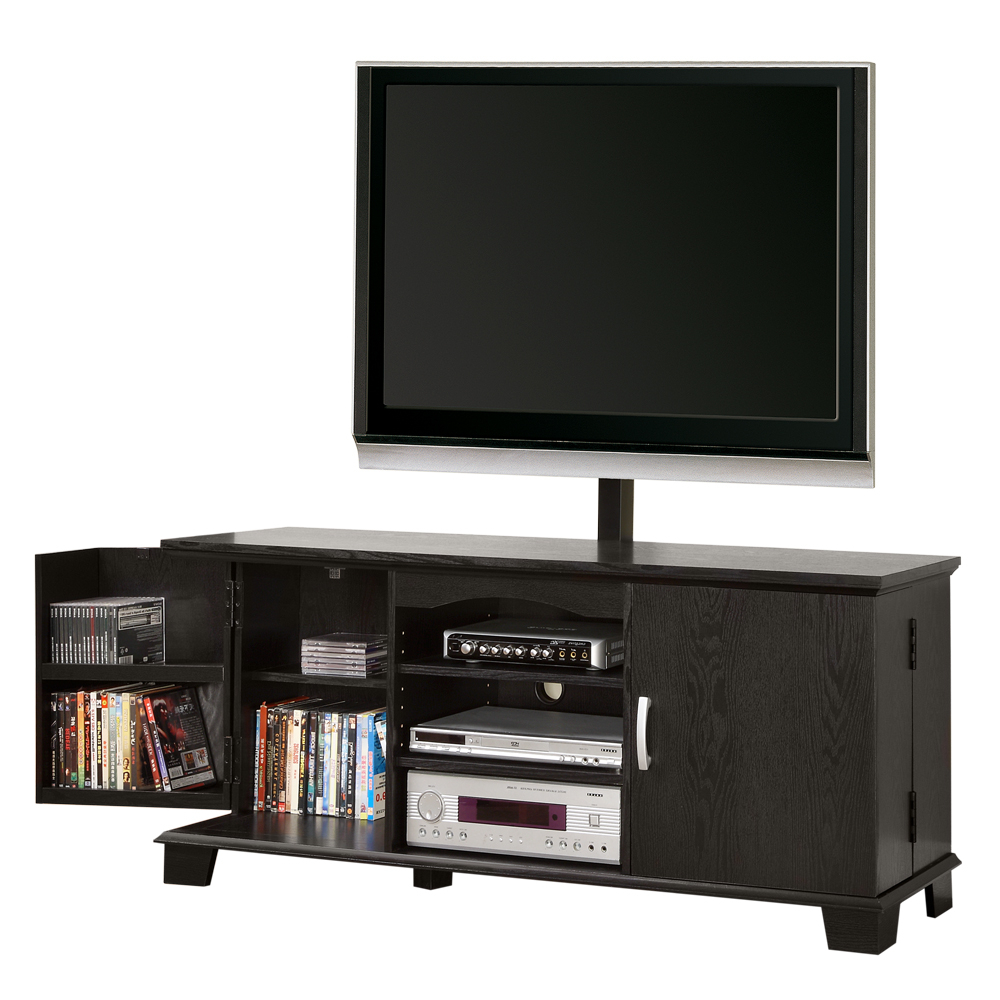 2017 Wood Entertainment Center Side Cabinets Tv Stand Component Shelf 60 Intended For Wood Tv Entertainment Stands (Gallery 20 of 20)