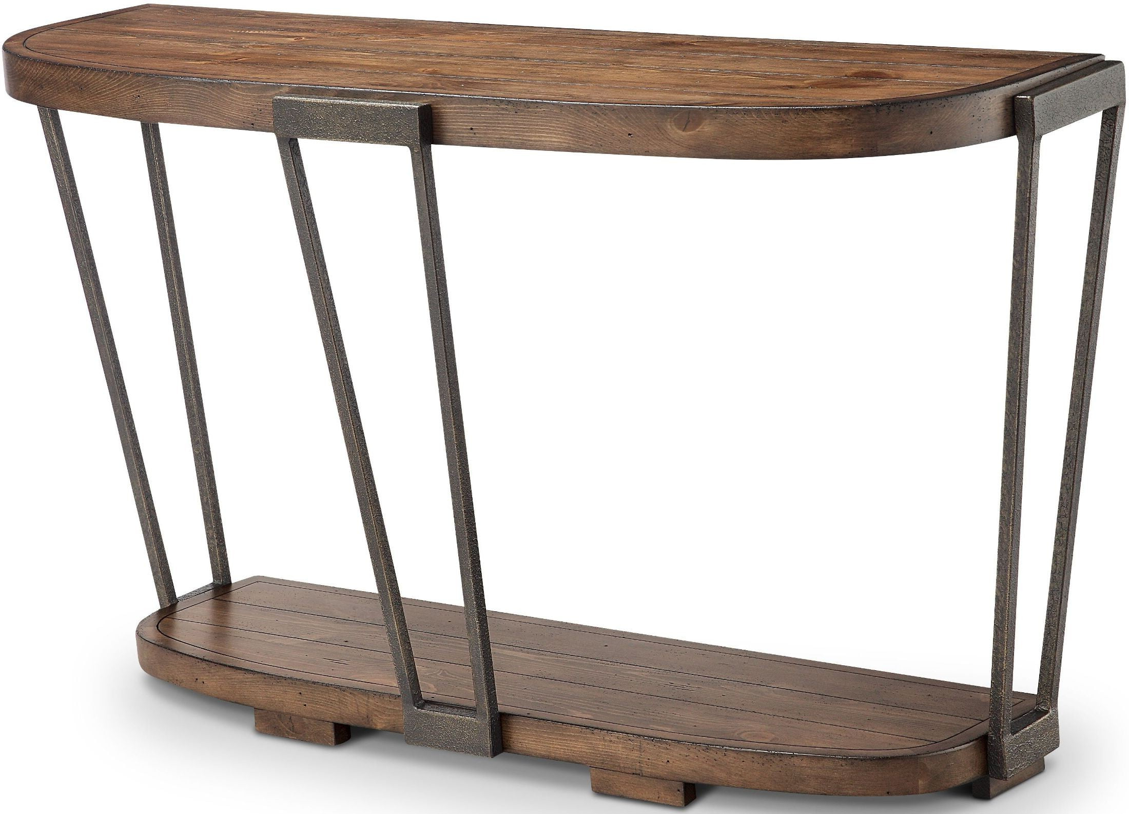 2017 Yukon Natural Console Tables Inside Yukon Bourbon And Aged Iron Demilune Sofa Table From Magnussen Home (View 1 of 20)