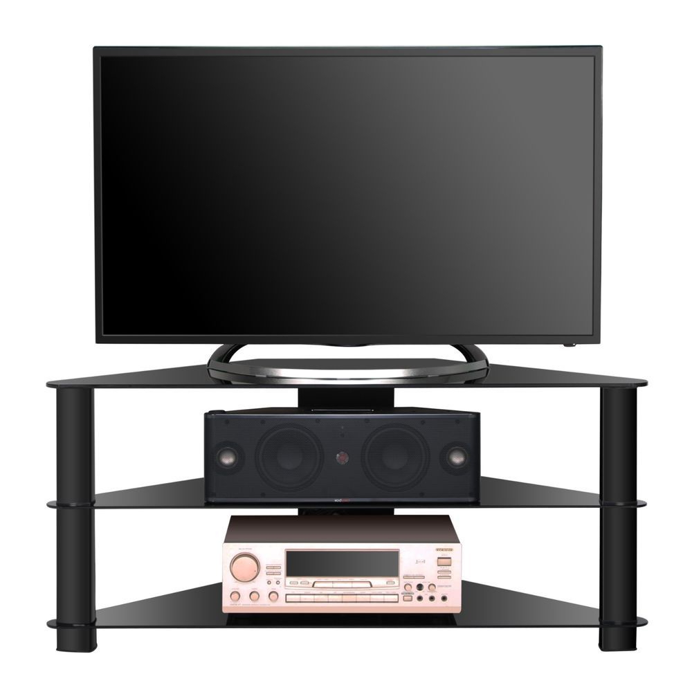 2018 32 Inch Tv Stands Intended For Corner Tv Stand With 3 Tiers Glass Shelf For 32 48 Inch Tvs Corner (View 2 of 20)