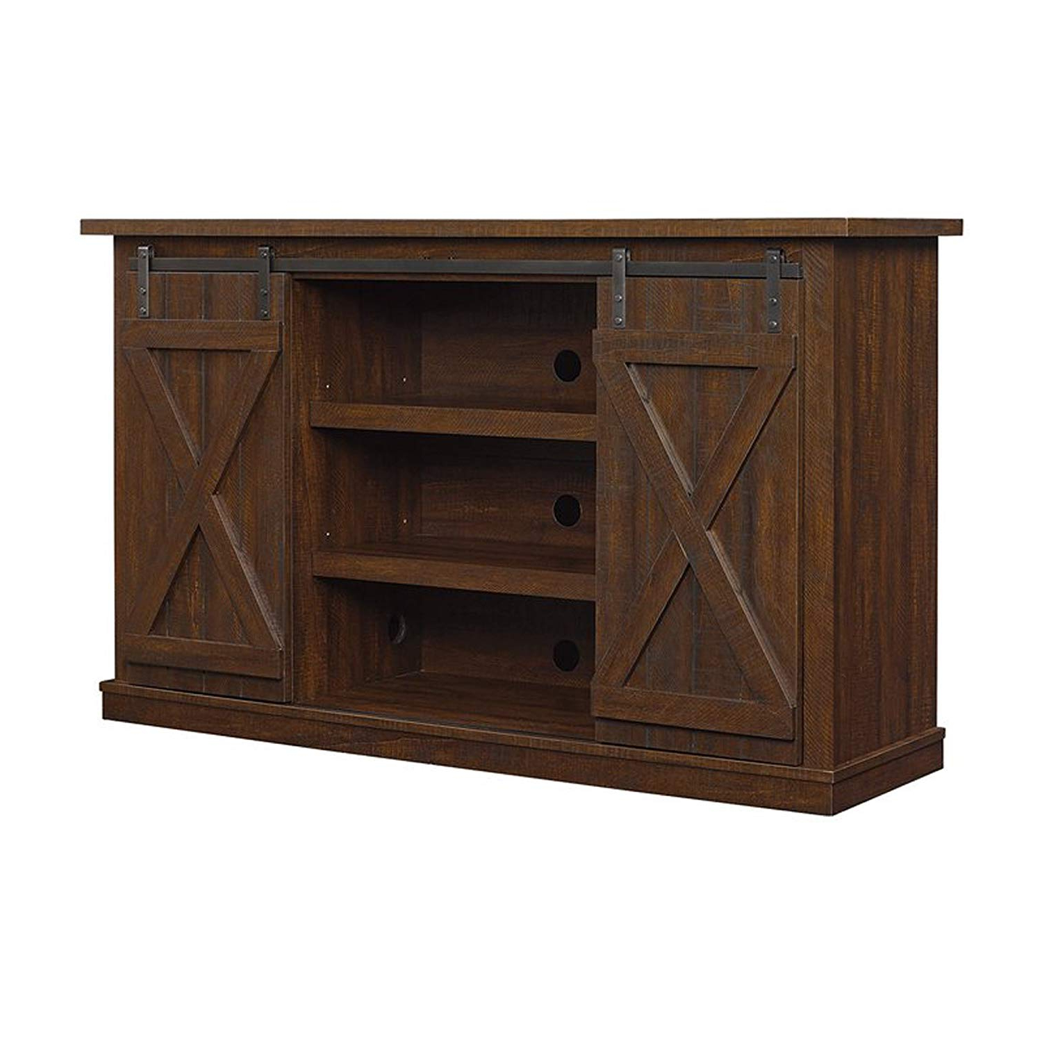 2018 Amazon: Industrial Tv Stand With Fireplace – Antique Rustic Look In Raven Grey Tv Stands (View 12 of 20)
