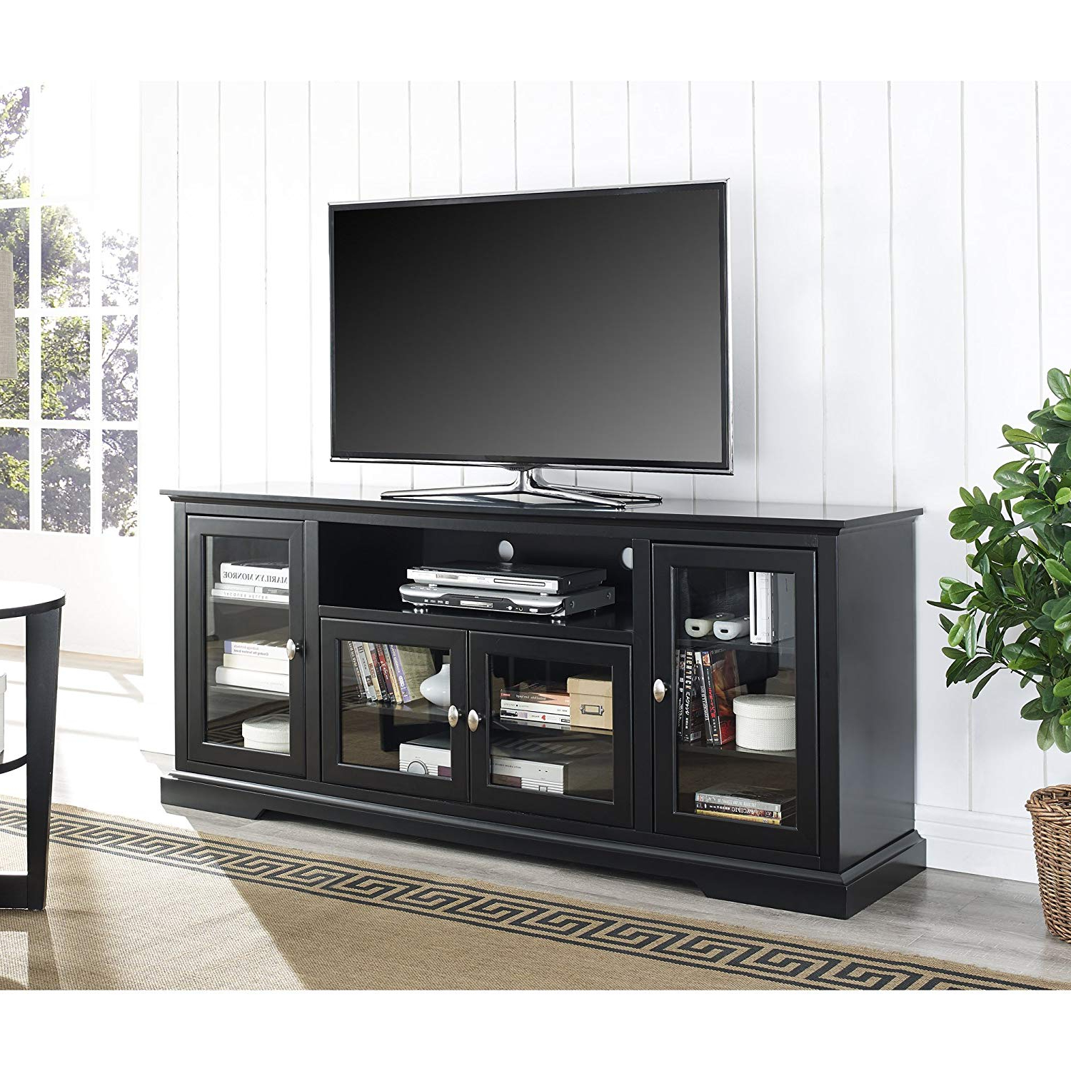 "2018 Amazon: We Furniture 70"" Highboy Style Wood Tv Stand Console With Black Tv Stand With Glass Doors (Gallery 2 of 20)"