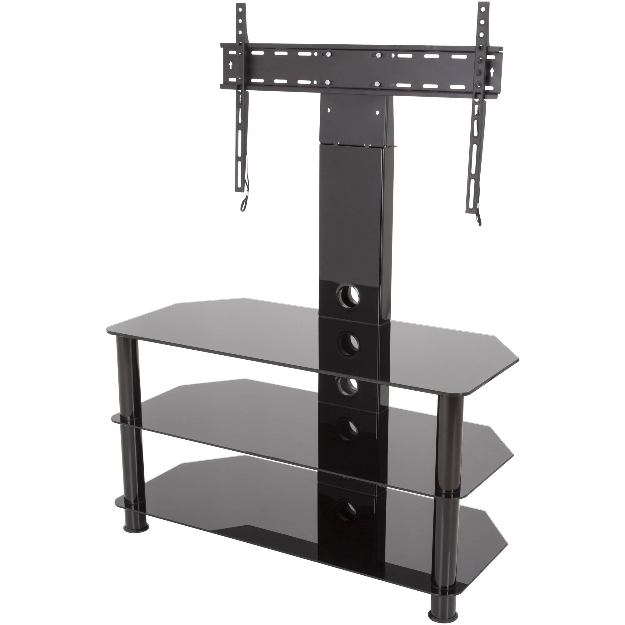 "2018 Avf Stand With Tv Mount For Tvs Up To 65"", Black Glass, Black Legs For Swivel Black Glass Tv Stands (View 2 of 20)"