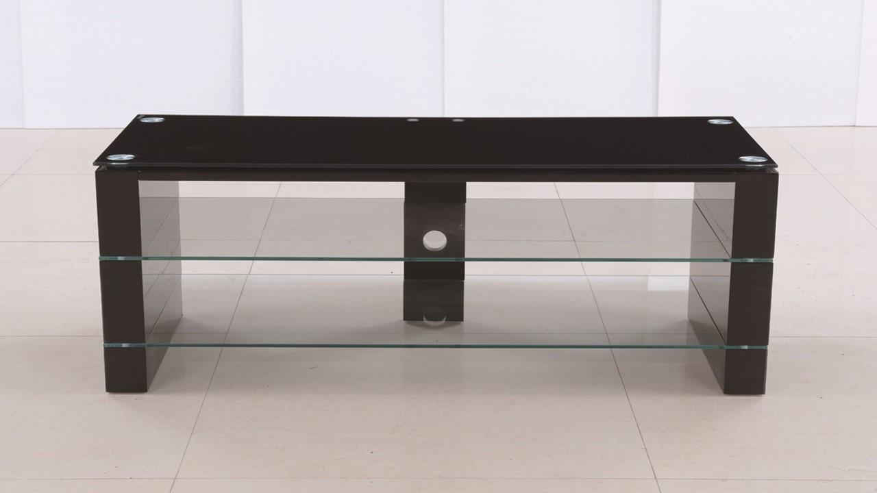 2018 Black Glass Tv Stands With Regard To Black Glass High Gloss Tv Stand Unit – Homegenies (View 3 of 20)