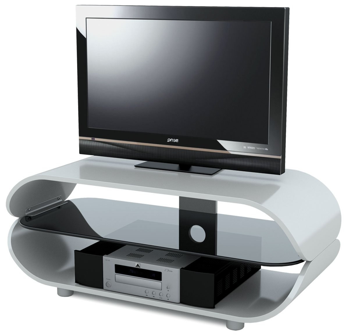 2018 Black Gloss Tv Stands For Stil Stand High Gloss White Oval Tv Stand: Amazon.co (View 1 of 20)