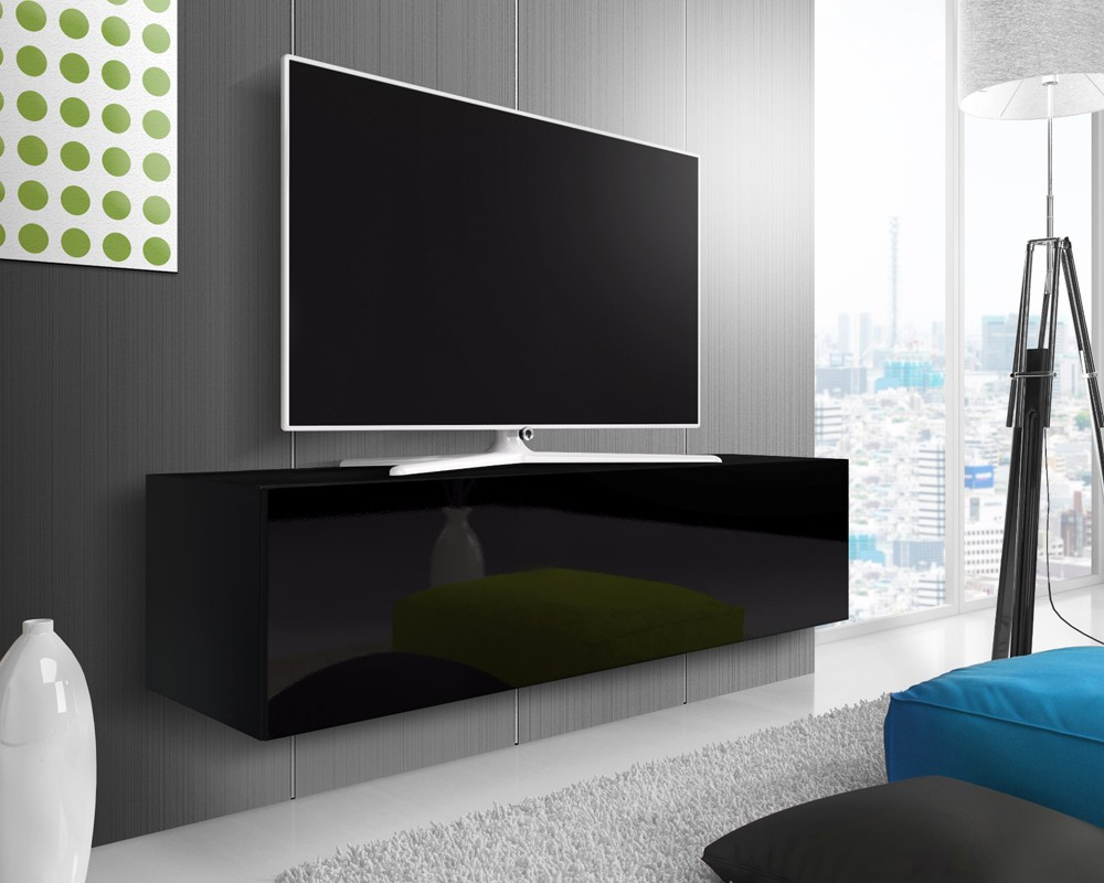 2018 Black Gloss Tv Wall Unit Throughout Mason Black Gloss Floating Tv Stand (View 1 of 20)