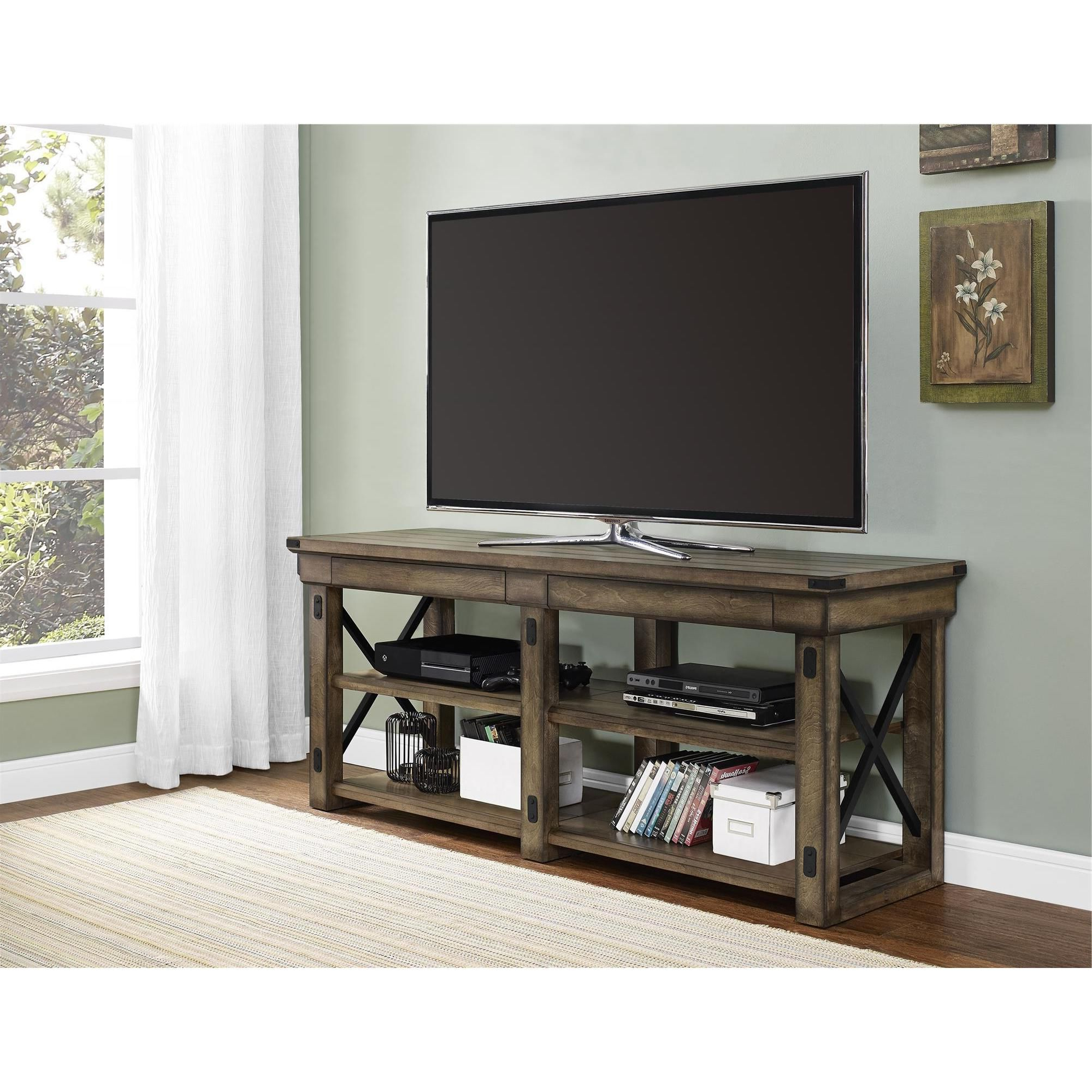 2018 Bring Beauty And Better Organization Into Your Living Room With The Inside Sinclair Grey 64 Inch Tv Stands (View 5 of 20)