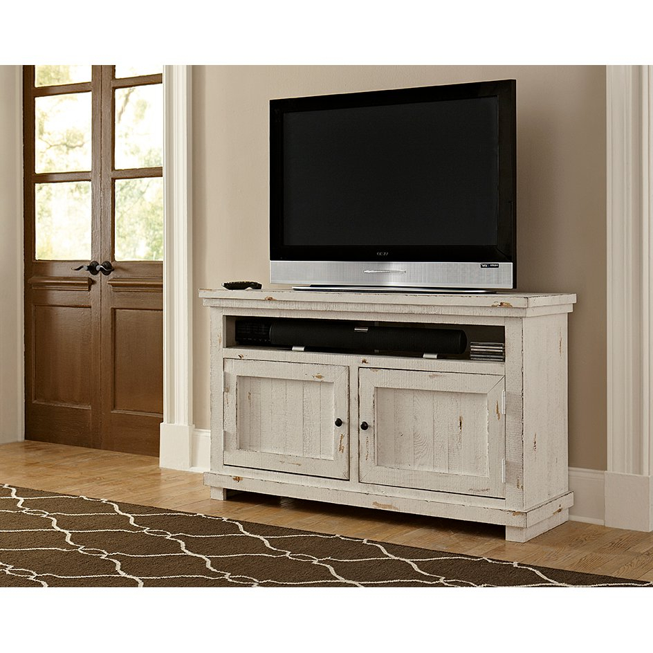 2018 Cheap White Tv Stands Inside 54 Inch Distressed White Tv Stand – Willow (View 1 of 20)