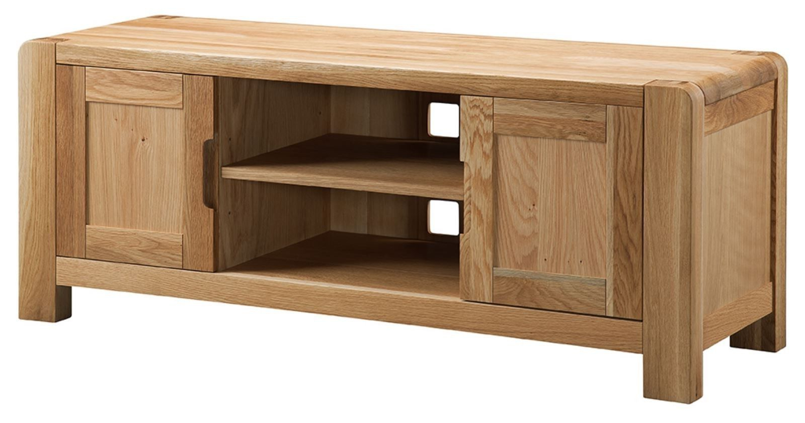 2018 Chunky Wood Tv Units Regarding Manor Solid Chunky Curved Oak Large Widescreen Lcd Plasma Tv Cabinet (View 1 of 20)