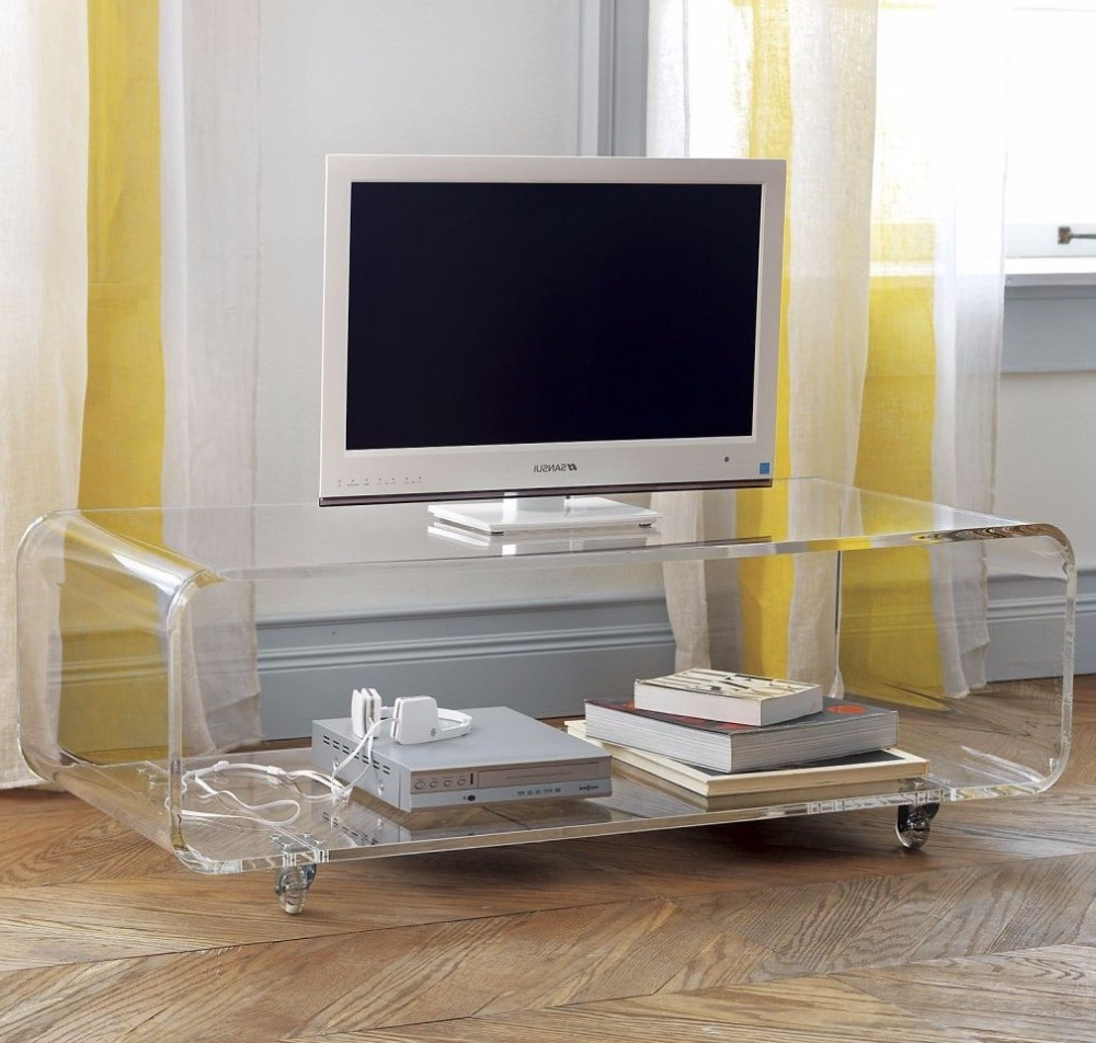 2018 Clear Acrylic Tv Stands Within Custom Size Clear Acrylic Movable Tv Stand Tray Table Lucite Side (Gallery 19 of 20)