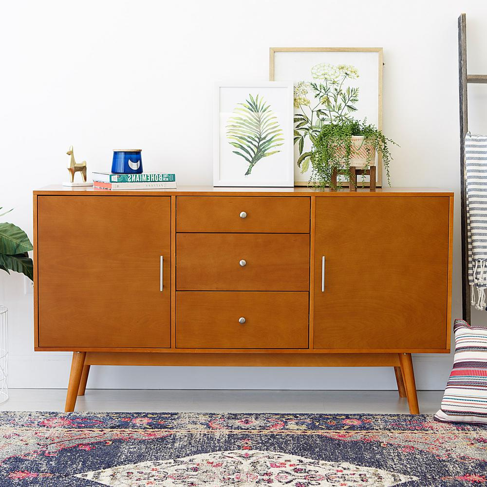 2018 Contemporary Wood Tv Stands Pertaining To Walker Edison Furniture Company 60 In. Mid Century Modern Wood Tv (Gallery 20 of 20)