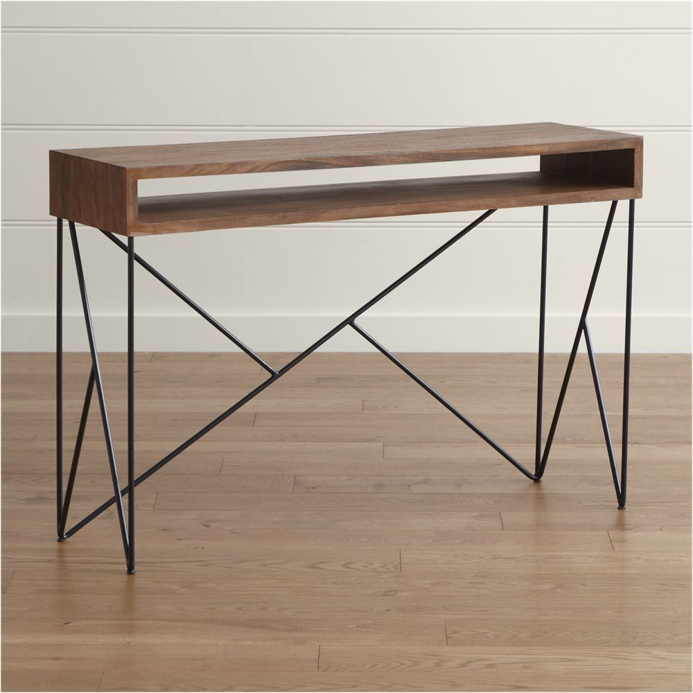 Featured Photo of Parsons Black Marble Top & Dark Steel Base 48X16 Console Tables