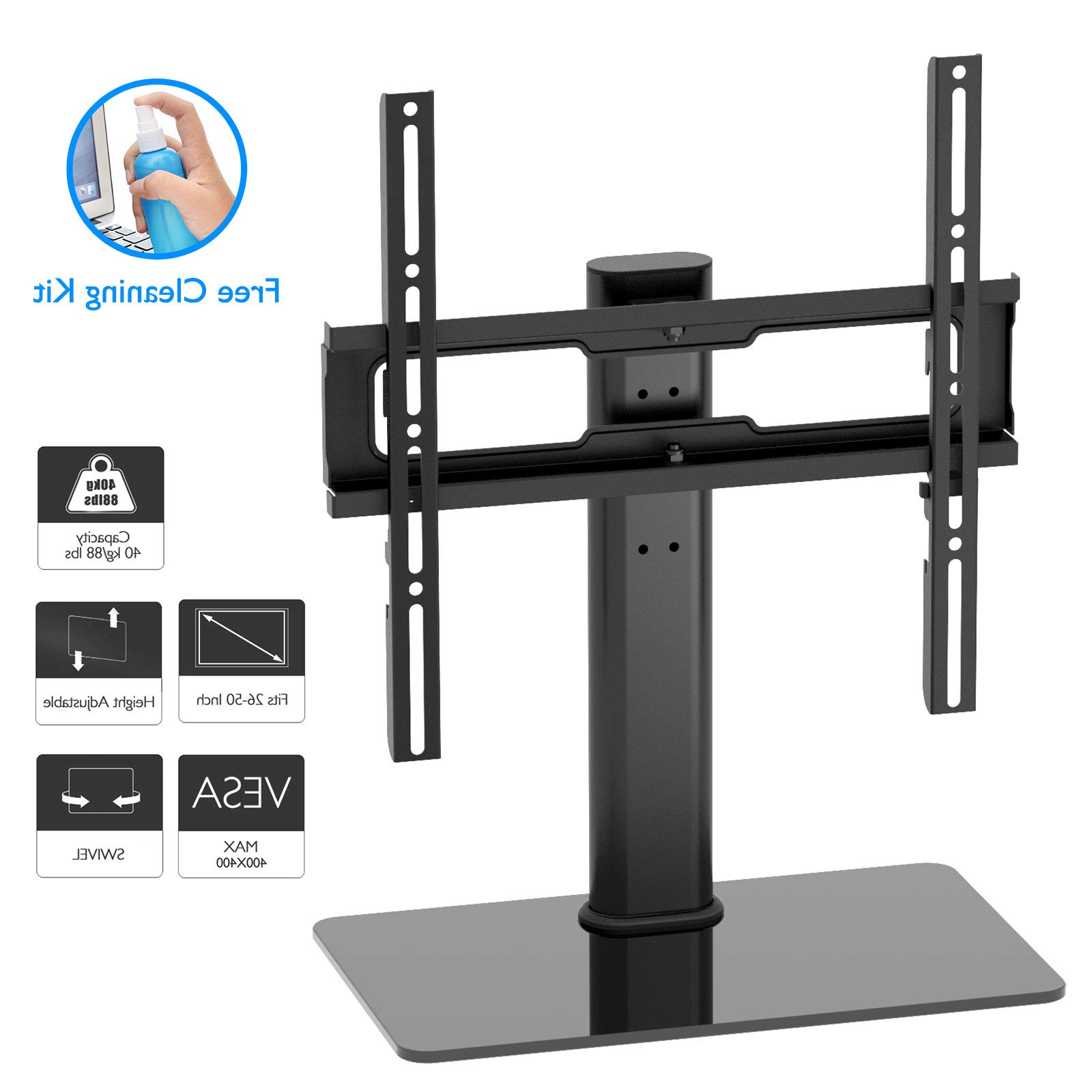 "2018 Galleon – 1home Table Top Pedestal Tv Stand For 26"" 50"" Lcd/led In Stil Tv Stands (View 15 of 20)"