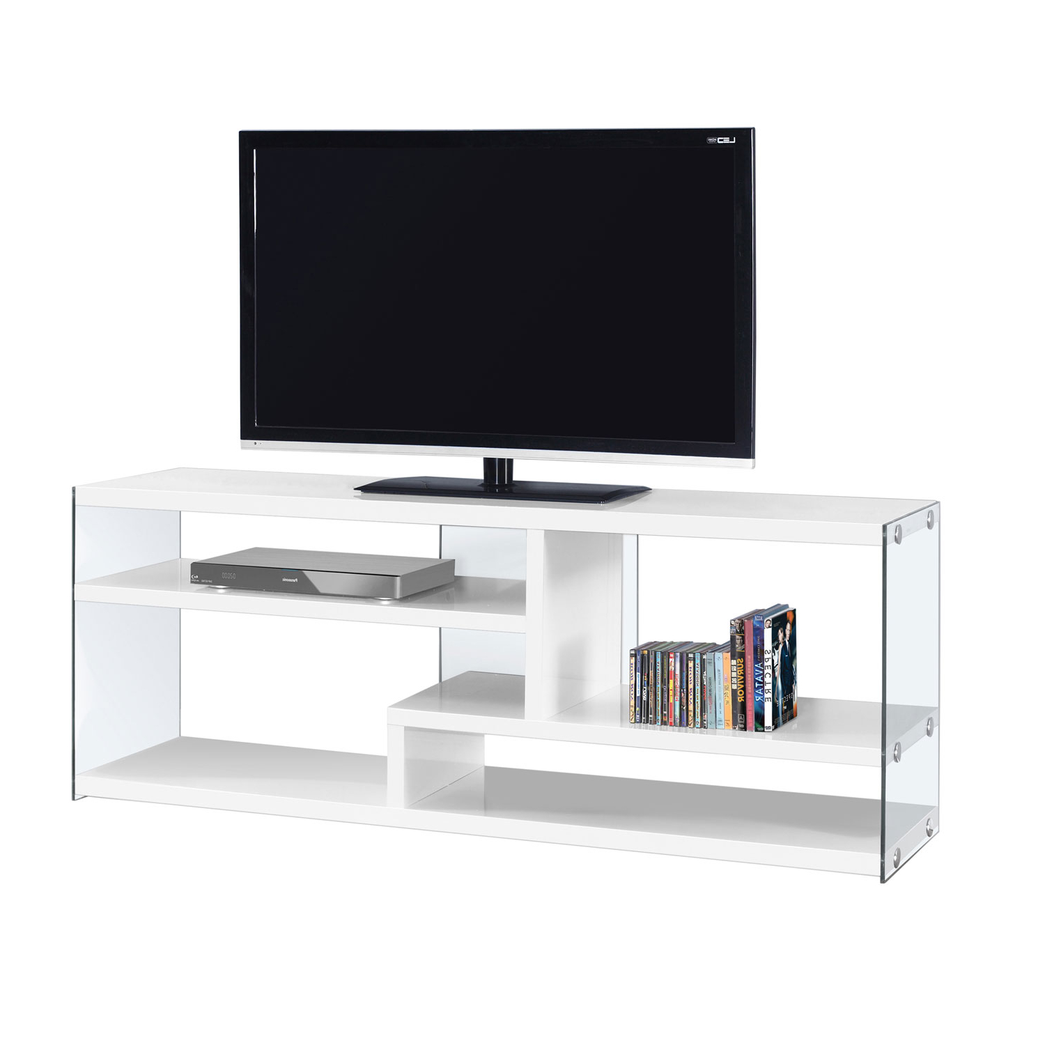 2018 Hawthorne Ave Tv Stand 60L / Glossy White With Tempered Glass I 2690 Inside Noah 75 Inch Tv Stands (View 1 of 20)