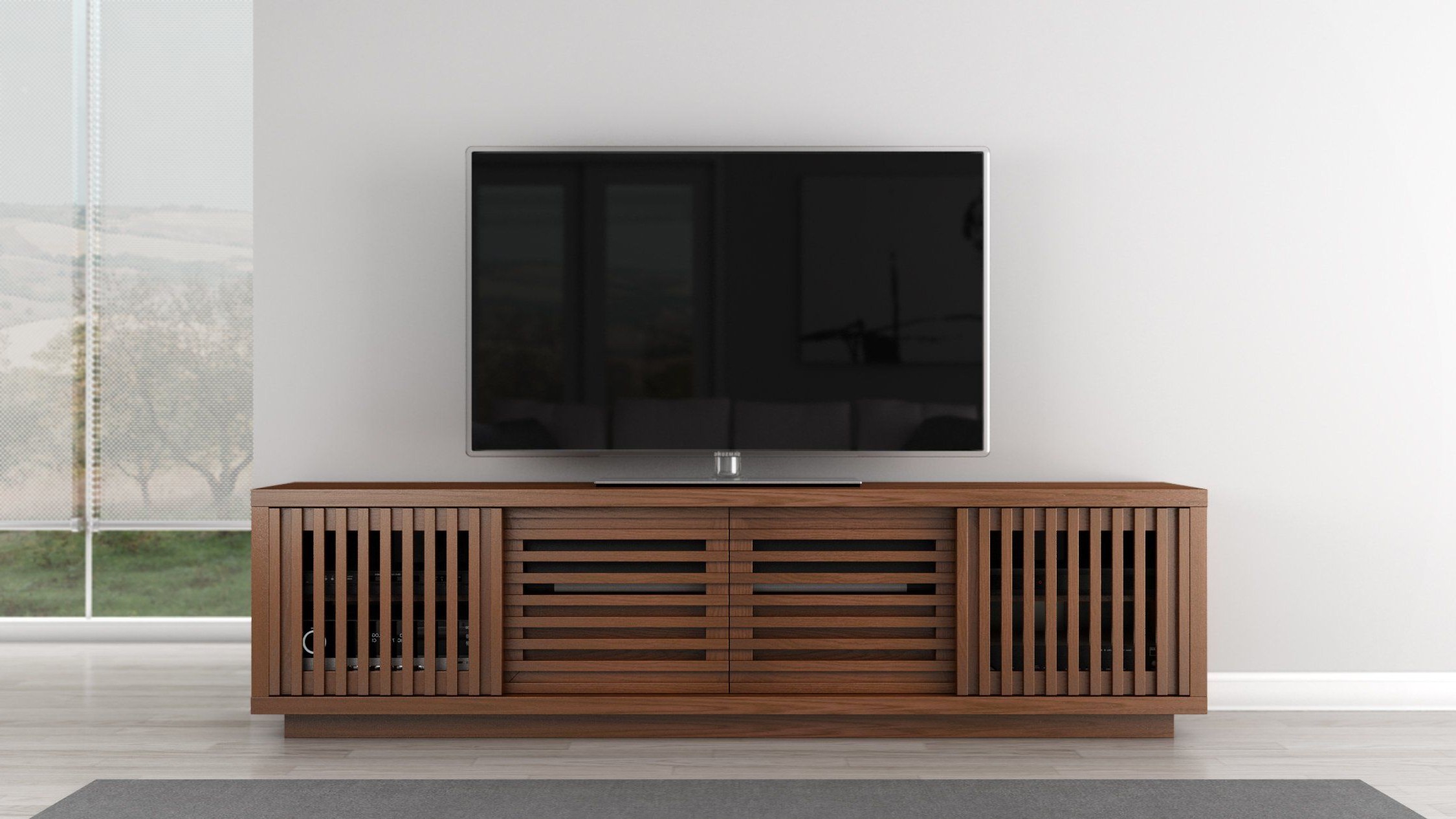 2018 Honey Oak Tv Stands Intended For Furnitech Signature Home Collection Tv Media Console, 82 Inch, Honey (View 2 of 20)