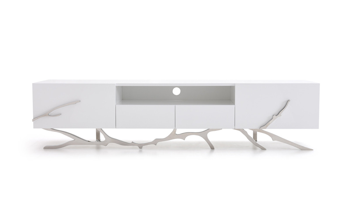 2018 Modern White Tv Stands With Regard To Modrest Legend Modern White Tv Stand (View 6 of 20)