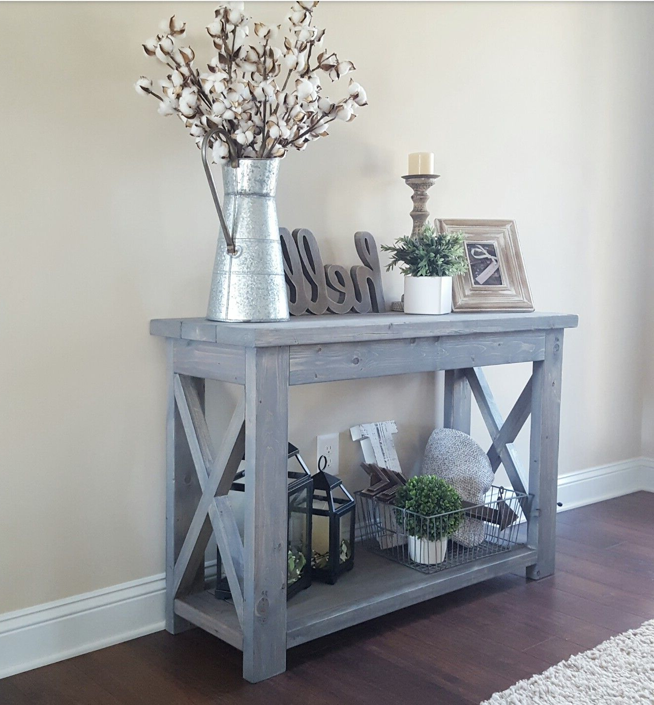 2018 Natural Wood Mirrored Media Console Tables With Regard To Modified Ana Whites Rustic X Console Table, And Used Minwax Classic (View 1 of 20)