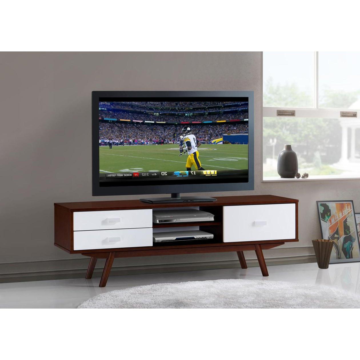 2018 Rowan 64 Inch Tv Stands Regarding Shop Urban Designs Retro Wood Veneer Walnut 65 Tv Stand With Storage (View 2 of 20)