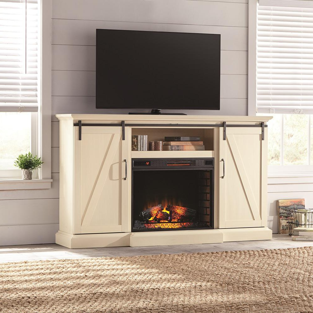 2018 Rustic White Tv Stands For White – Fireplace Tv Stands – Electric Fireplaces – The Home Depot (Gallery 16 of 20)
