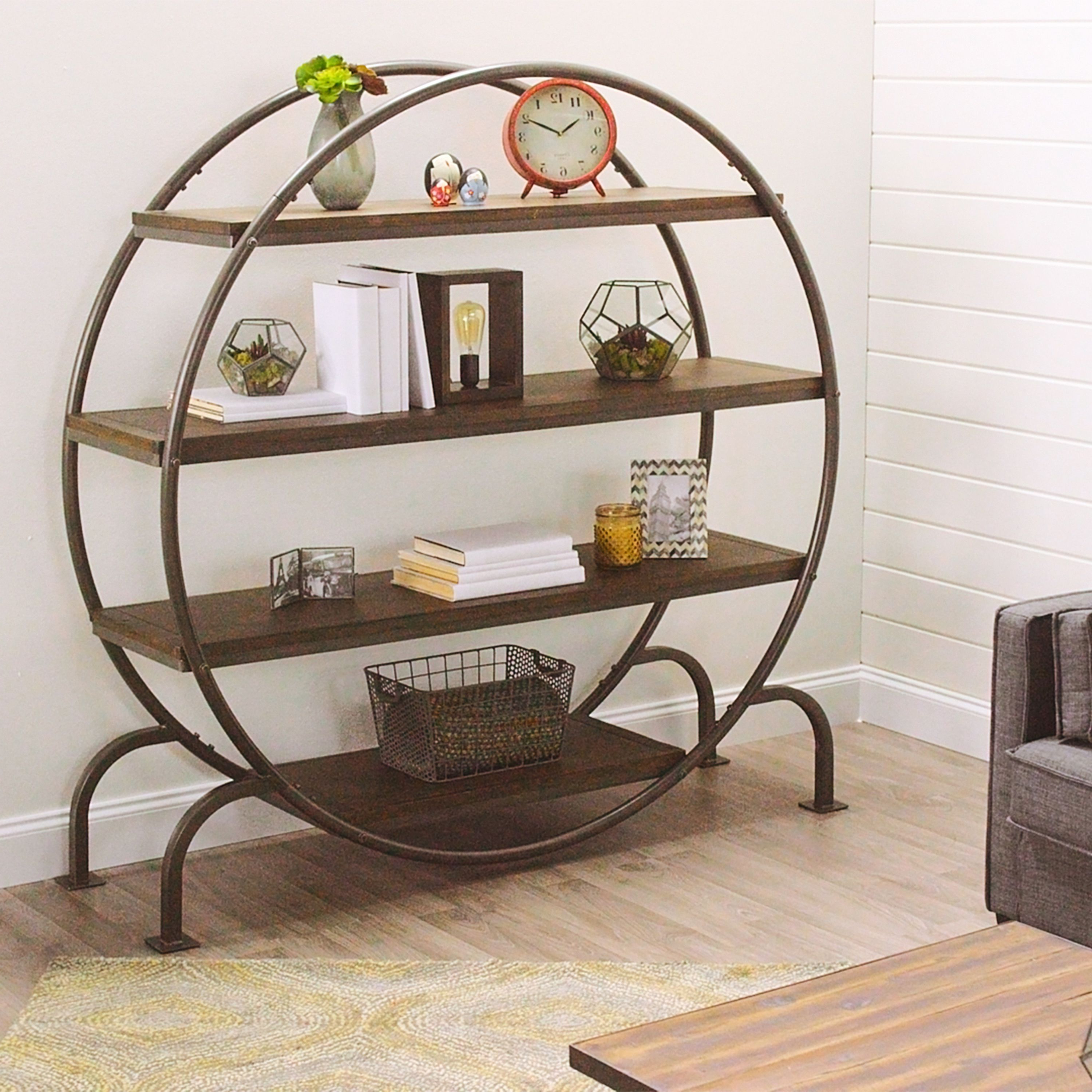 2018 Scattered Geo Console Tables With Our Ultra Stylish Round Bookcase Is Brimming With Industrial (Gallery 18 of 20)