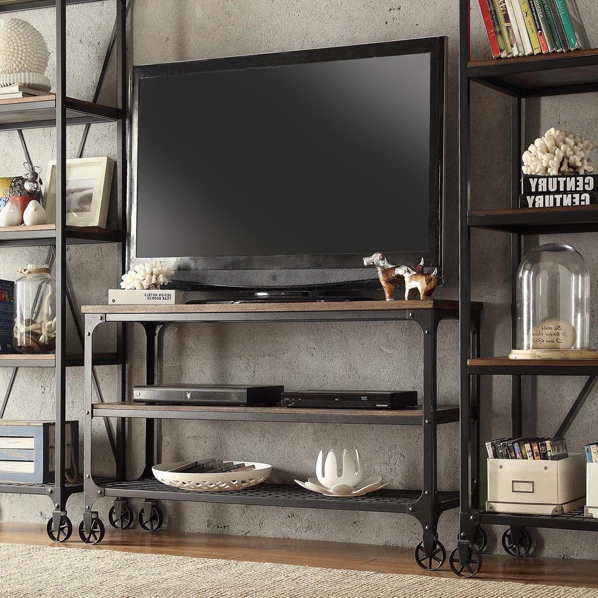 2018 Shop Nelson Industrial Modern Rustic Console Sofa Table Tv Stand Within Rustic Tv Stands For Sale (Gallery 17 of 20)
