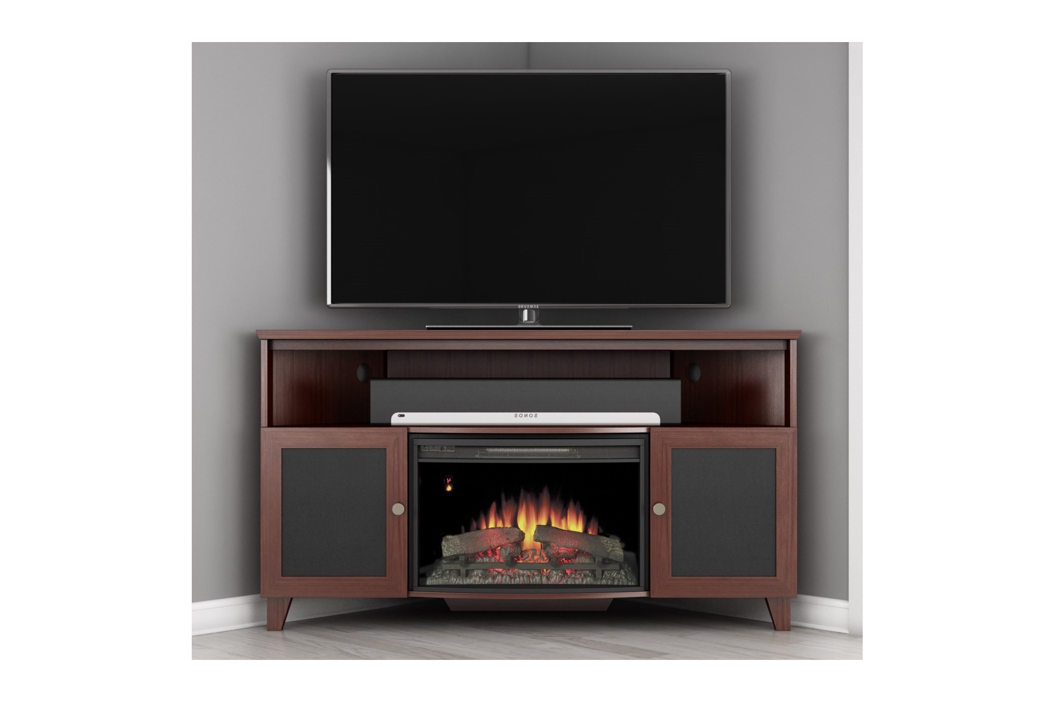 2018 Small Corner Tv Stand For Flat Screen Tv With Fireplace And Square For Square Tv Stands (Gallery 14 of 20)
