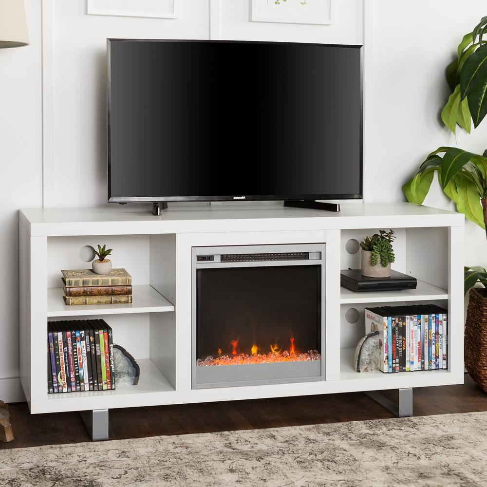 2018 Walker Edison Furniture Company 58 In. Simple Modern Fireplace Tv With White Modern Tv Stands (Gallery 19 of 20)