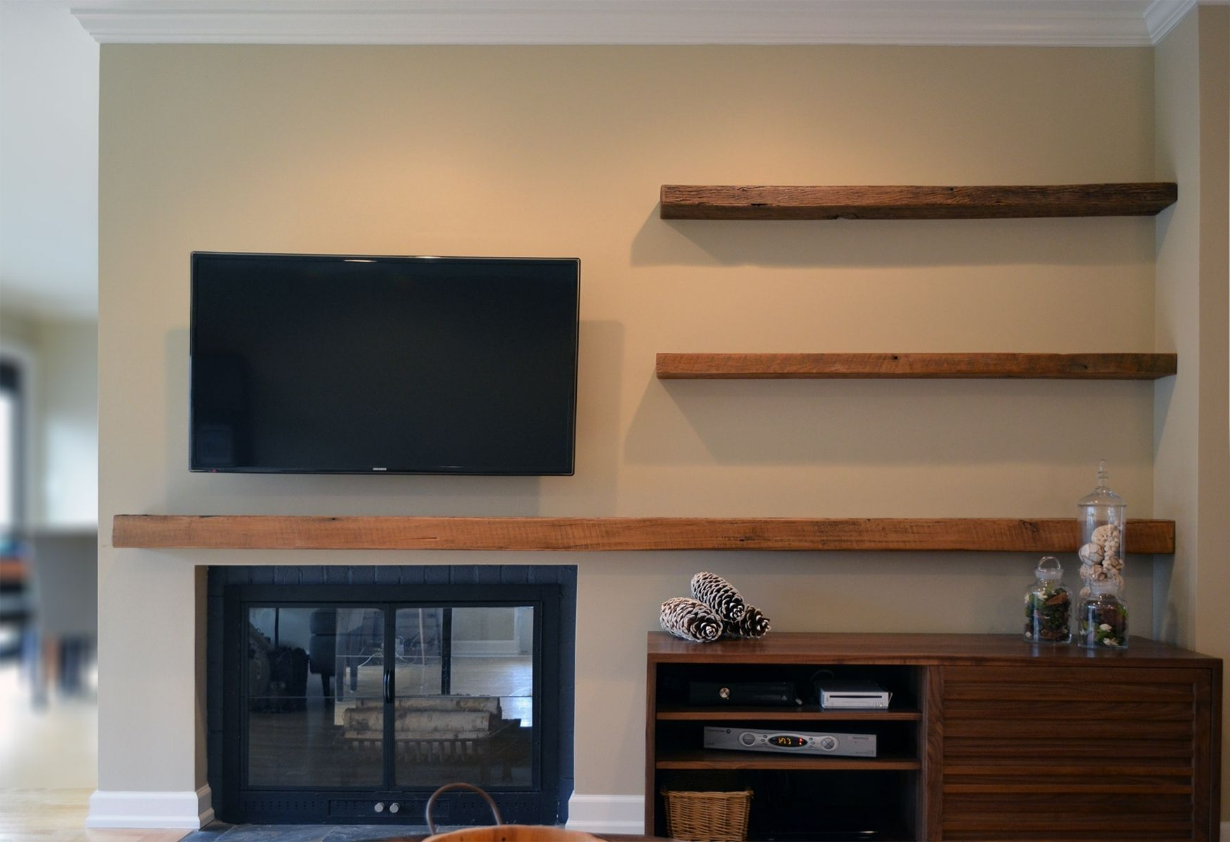 2018 Wall Mounted Tv And Barn Wood Floating Shelves Over Fireplace Also Within Over Tv Shelves (View 1 of 20)