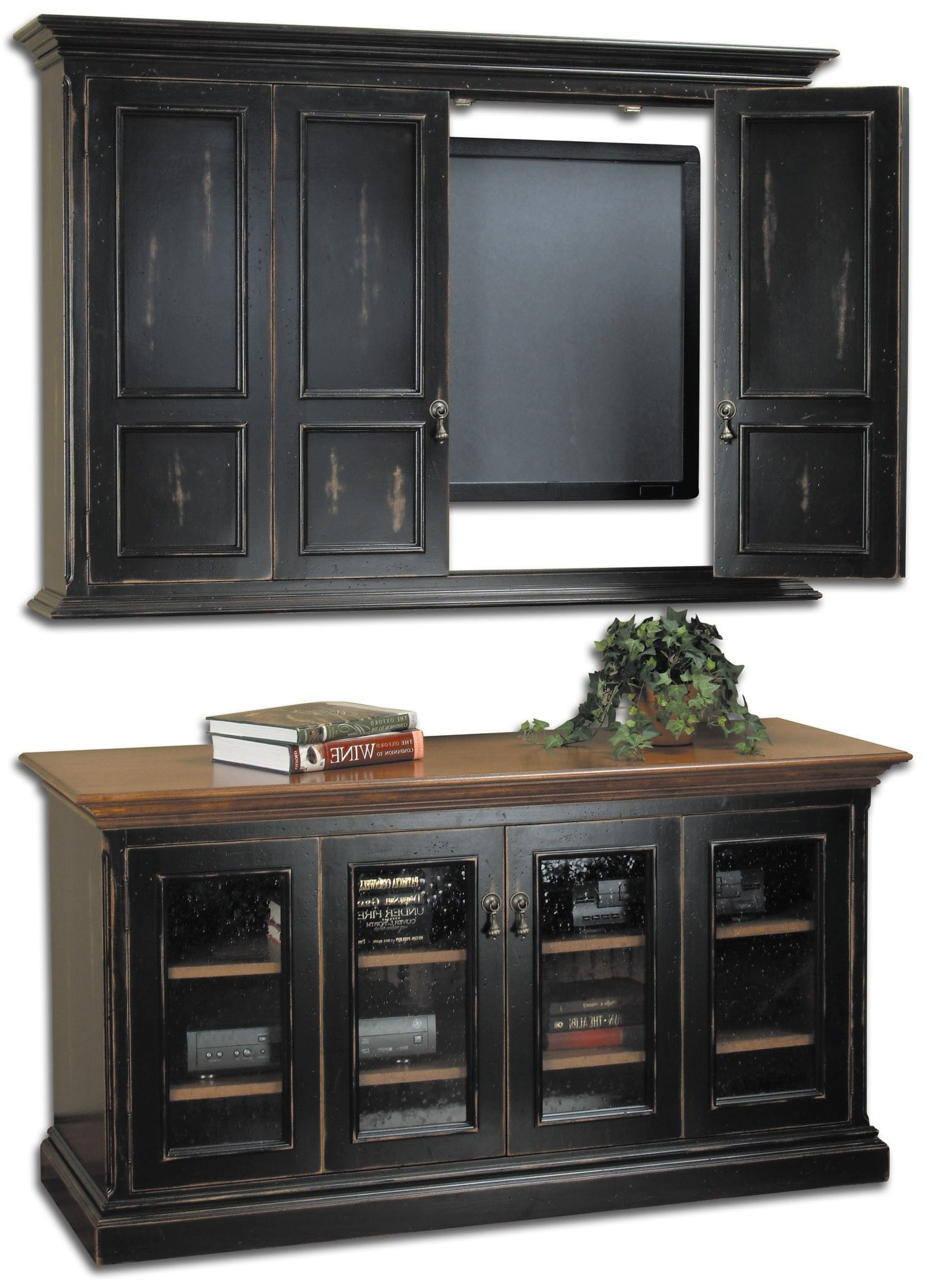 2018 Wall Mounted Tv Cabinets For Flat Screens With Doors Regarding Country Classics Painted Furniture, Hillsboro Flat Screen Tv Wall (Gallery 16 of 20)