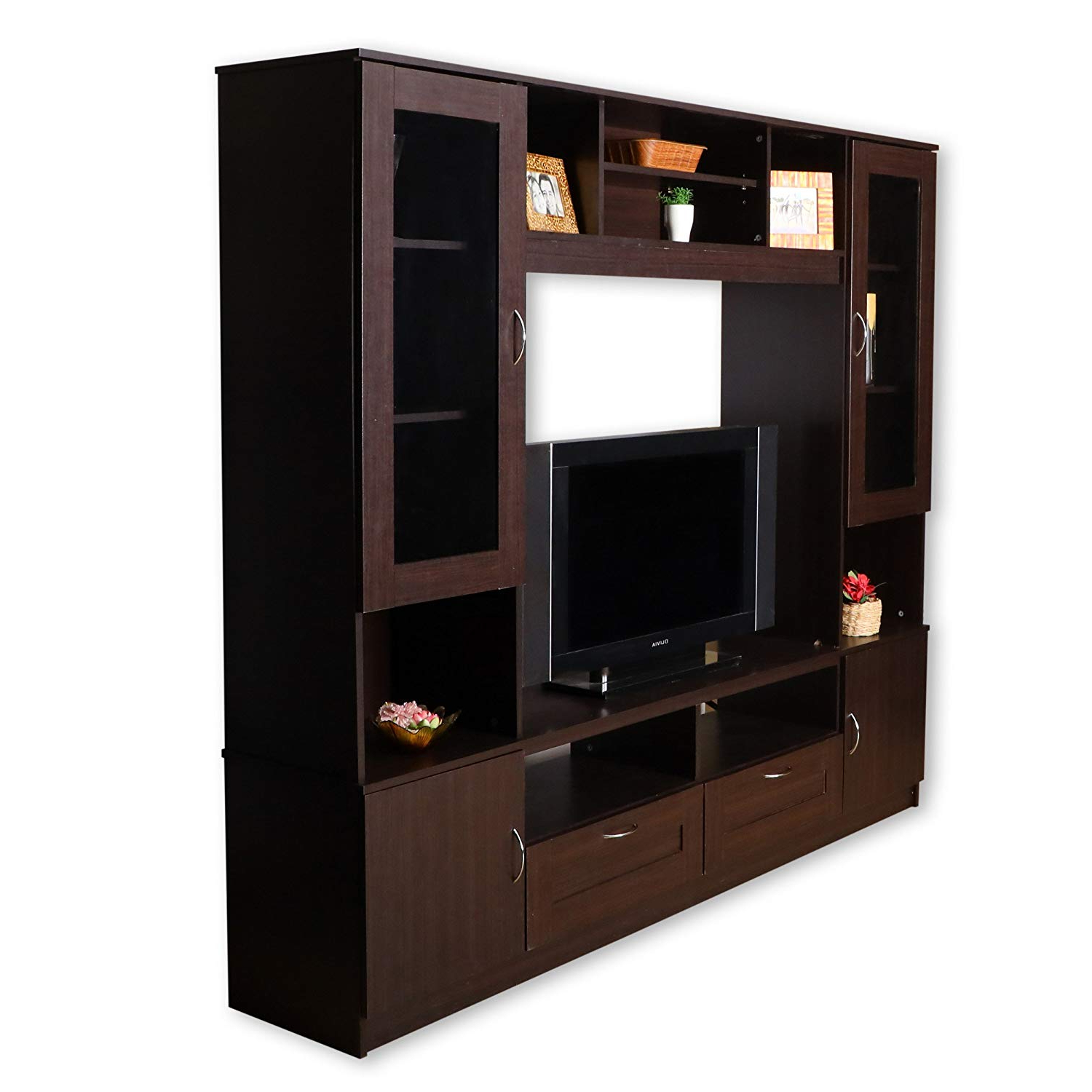 2018 Walton 72 Inch Tv Stands For Hometown Missouri Wall Unit (Textured Finish, Walnut): Amazon (View 2 of 20)