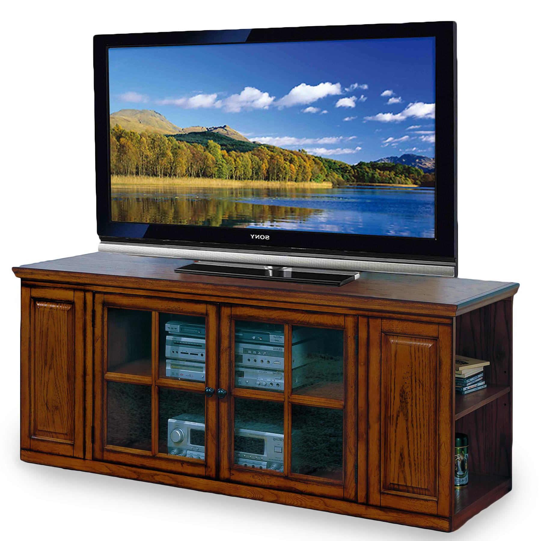 2018 White Cantilever Tv Stands With Amazon: Leick Riley Holliday Tv Stand, 62 Inch, Burnished Oak (Gallery 10 of 20)
