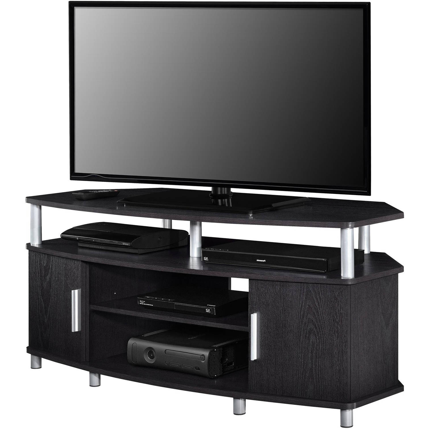"2018 Wide Tv Cabinets Throughout Ameriwood Home Carson Corner Tv Stand For Tvs Up To 50"" Wide, Black (Gallery 14 of 20)"