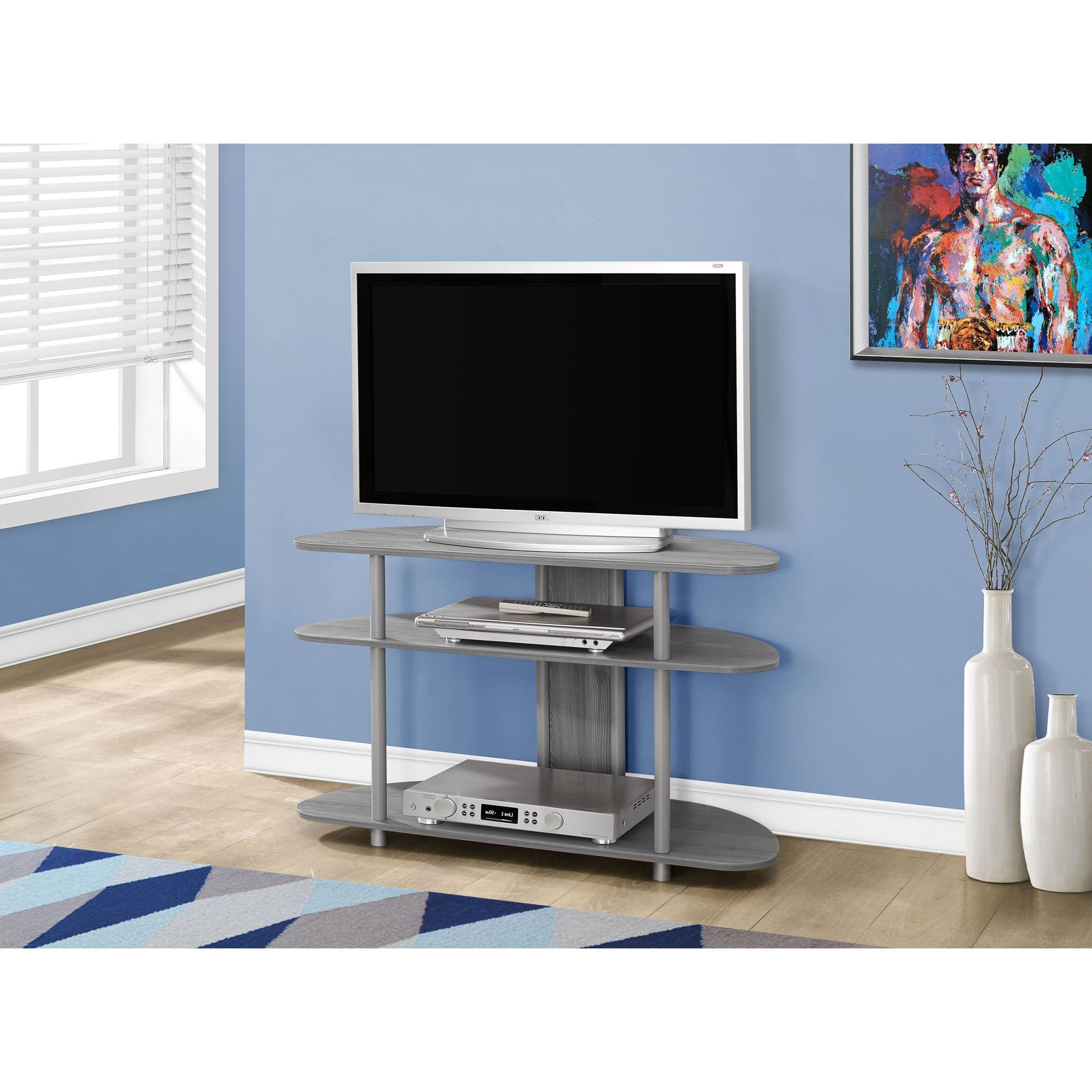 40 Inch Corner Tv Stands Pertaining To Trendy Perfect For Small Spaces, This Slick Grey Corner Tv Stand Is Angled (View 3 of 20)