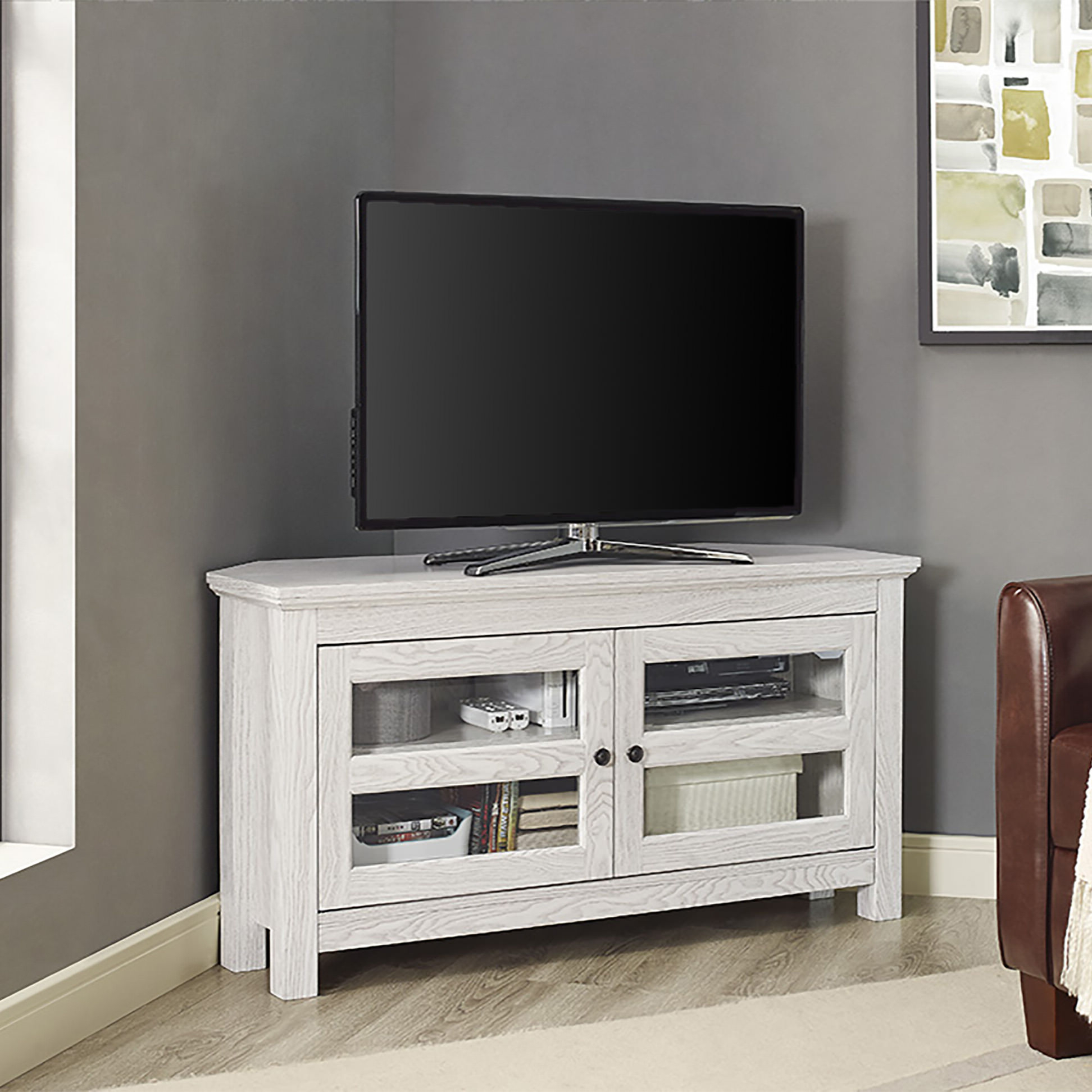 44 Inch White Wash Wood Tv Standwalker Edison In Most Recently Released White Wood Corner Tv Stands (Gallery 14 of 20)