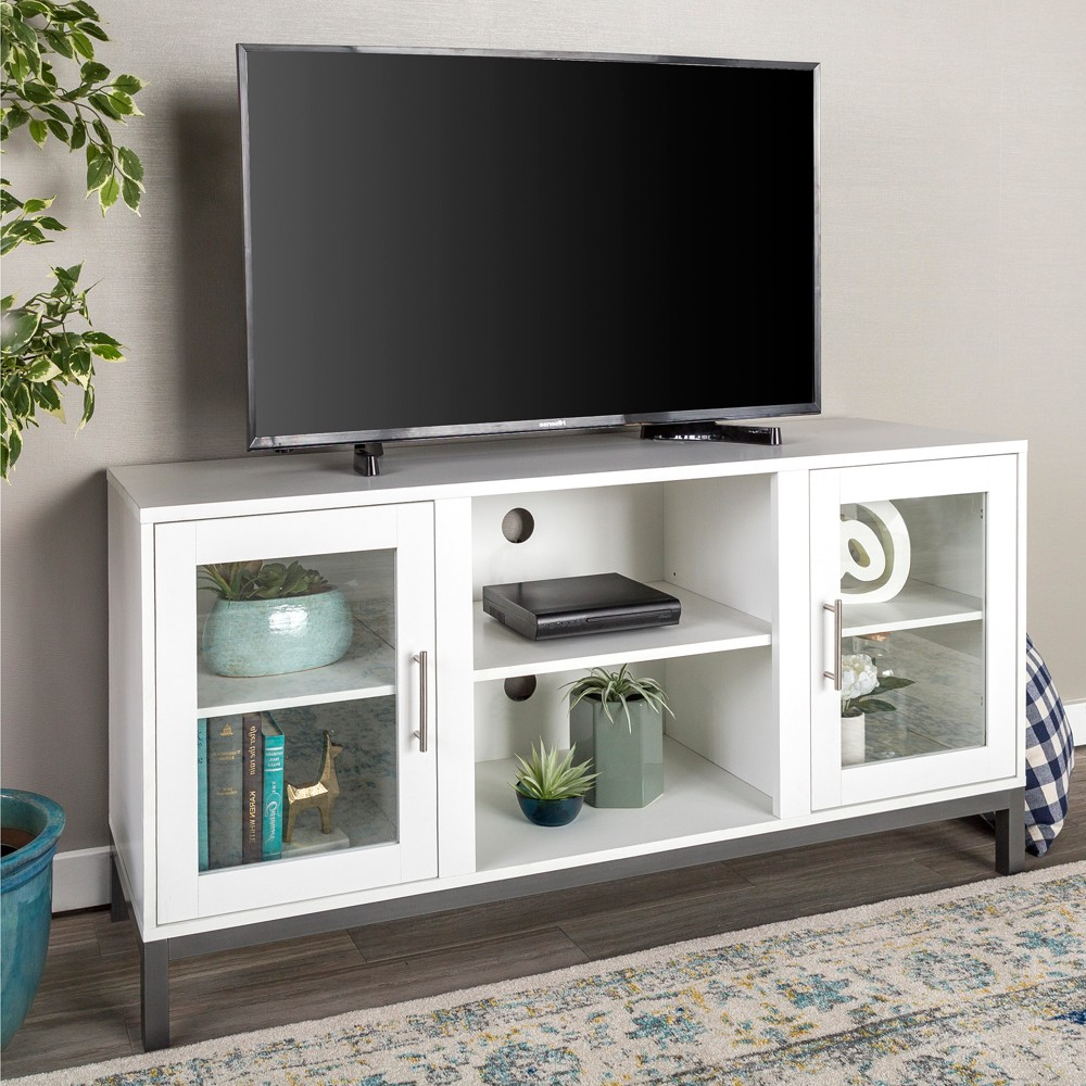 52 Wood Tv Console With Metal Legs – White – Saracina Home Pertaining To Widely Used Maddy 60 Inch Tv Stands (View 3 of 20)