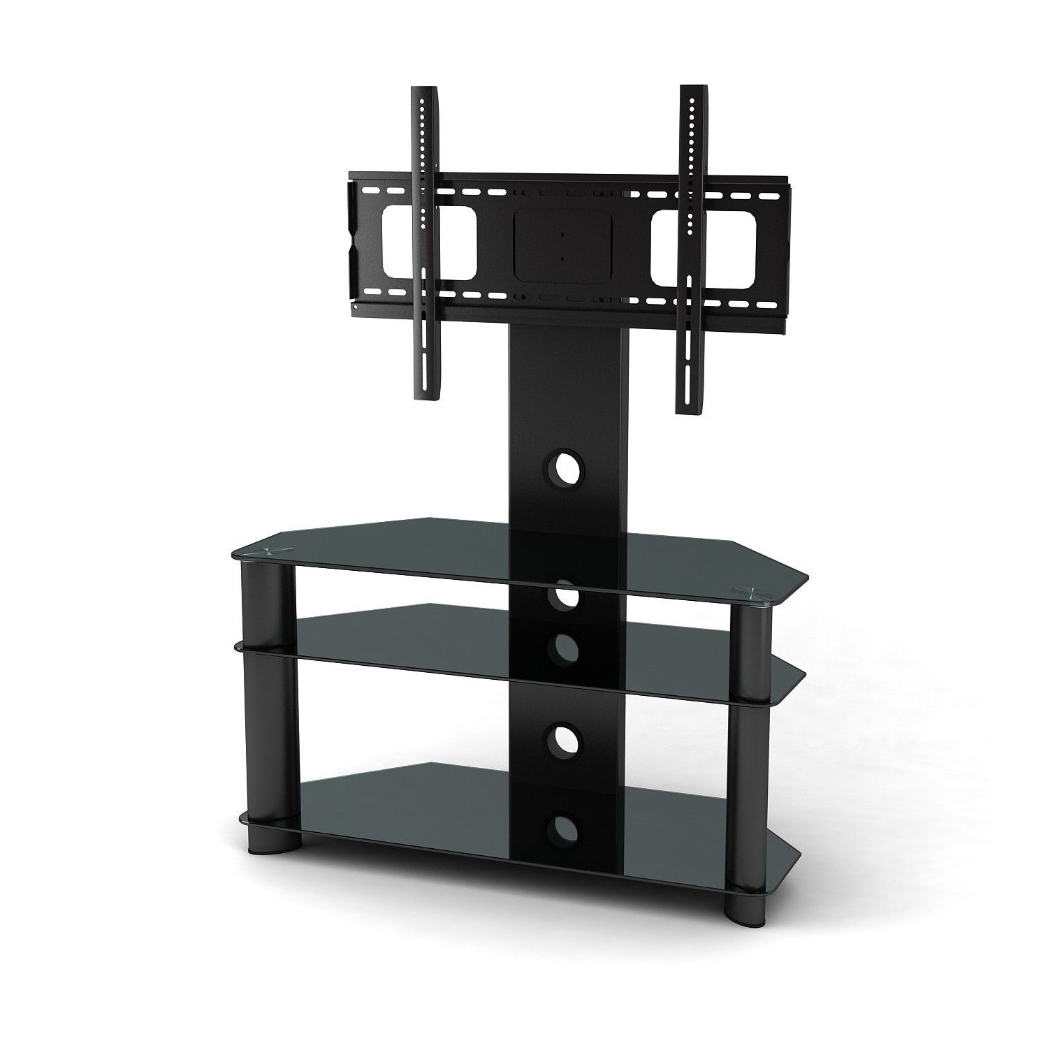 55 Inch Tv Stand With Mount Mounts Tilt And Swivel Stands For Flat Pertaining To Trendy Swivel Black Glass Tv Stands (View 3 of 20)