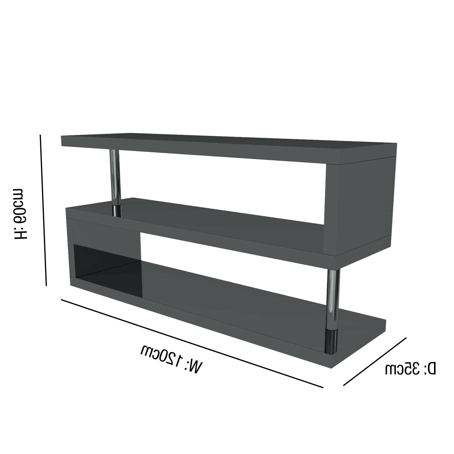 60 Cm High Tv Stand Within Latest Black And Grey Tv Unit Grey High Gloss Geometric Unit Stand Black (View 7 of 20)